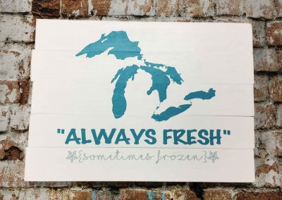 Michigan always fresh sometimes frozen is not a canvas sip and paint class, this wine and paint workshop is DIY wood sign