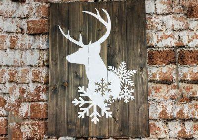 Buck with snowflakes is not a canvas sip and paint class, this wine and paint workshop is DIY wood sign