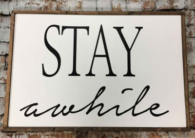 Stay awhile is not a canvas sip and paint class, this wine and paint workshop is DIY wood sign