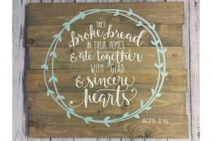 They broke bread and ate together is not a canvas sip and paint class, this wine and paint workshop is DIY wood sign