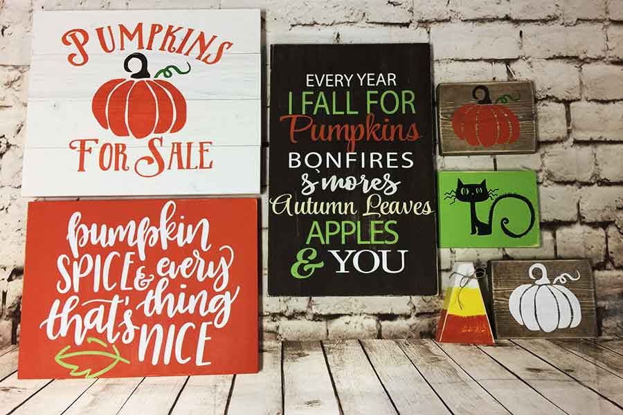 Fall signs with extra small signs