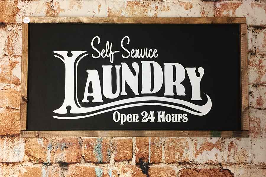 Self Service Laundry red