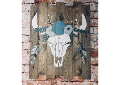 boho skull wood sign painting class