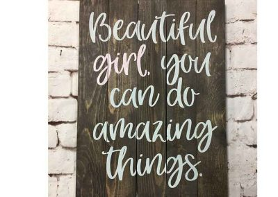 Beautiful girl finished sign
