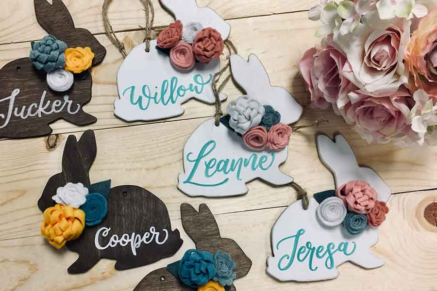 $10 Bunny gift or basket name tags- technique class at Empireblu venue in Traverse City