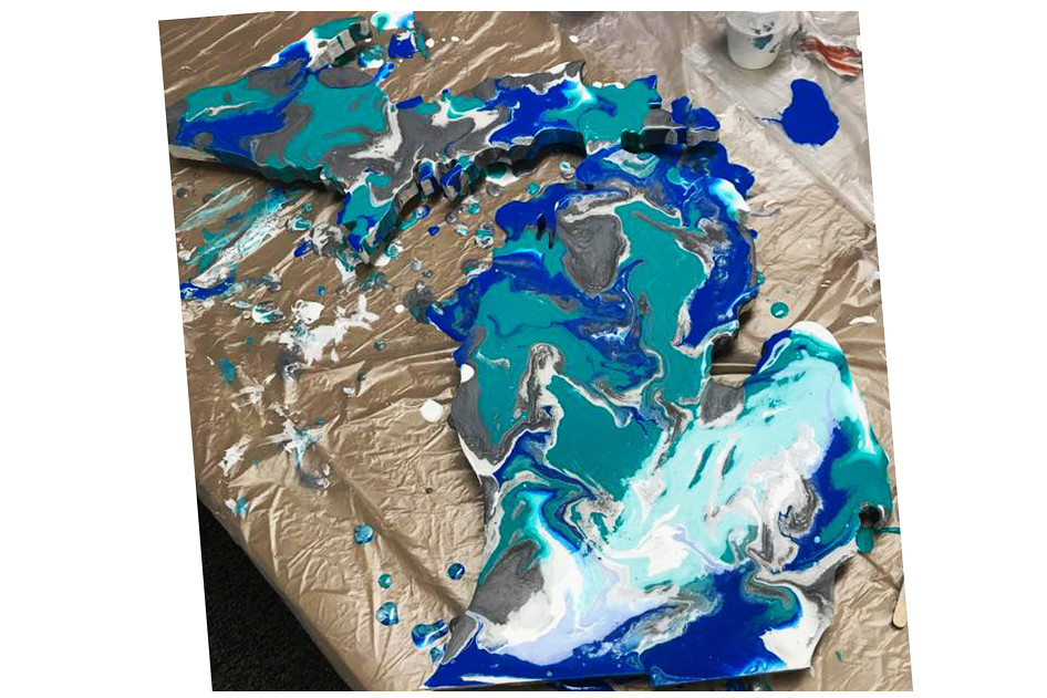 Dawn's Private Paint Pour Party!!  Upper and lower Michigan pour- at Hang Workshop