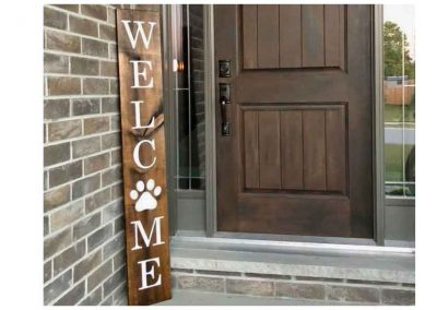 Welcome sign with dog print for porch