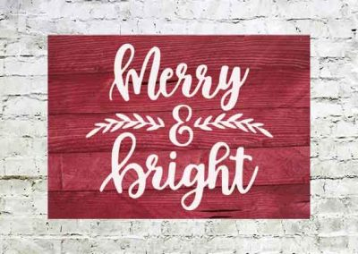Merry and bright red sign