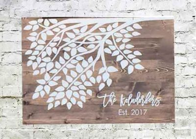Tree branch wedding sign