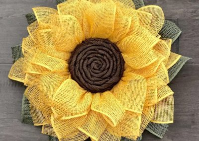 Burlap Mesh Sunflower Wreath